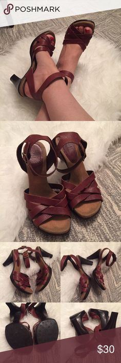 """GB Gianni Bini leather """"crosswalk"""" sandal Super soft strappy leather sandals with ankle strap, gold tone buckle.  Stacked wedge heel.  Super clean soles.  Only visible wear is to footbed, and that is covered when worn.  Otherwise excellent condition!  Very comfortable. Gianni Bini Shoes Sandals"""