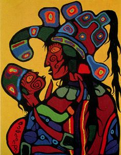 Norval Morrisseau -Wife and Daughter. His distinctive style makes his paintings instantly recognizable. Original painting on display at the McMichael Canadian Art Collection. Native American Artists, Canadian Artists, Native Canadian, Indian Artist, Canada, Indigenous Art, First Art, Global Art, Aboriginal Art