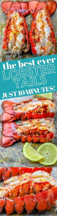 Perfect Oven Broiled Lobster Tails Recipe - Oven Baked Lobster Tails Perfect Oven Broiled Lobster Tails Recipe - Oven Baked Lobster Tails - This 10 Minute Perfect Broiled Lobster Tails Recipe is the quickest, tastiest, and easiest way to cook Baked Lobster Tails, Broiled Lobster Tails Recipe, Broil Lobster Tail, Grilled Lobster, Cooking Lobster Tails, Lobster Recipes, Fish Recipes, Seafood Recipes, Cooking Recipes
