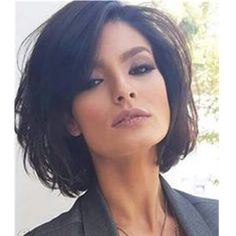 Short Wavy Human Hair Capless Wig 14 Inches