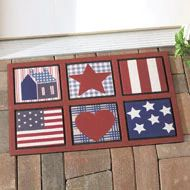 Primitive Country Patriotic Americana Mat Welcome Mat Rug Front Doormat ** You can find more details by visiting the image link. (This is an affiliate link) Patriotic Party, Patriotic Decorations, Happy Birthday America, Collections Etc, Welcome Mats, Country Primitive, Solar Lights, Red Background, Best Part Of Me