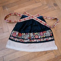 Czech Moravian Hand Embroidered Crocheted Folk Costume Apron Black with Flowers, Fruit 1930's.
