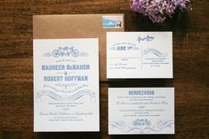 tandem bicycle letterpress in light blue and white and kraft, by parrott design studio. love love love.