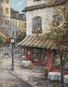 My Favorite Cafe Print by Ruane Manning Images Victoriennes, Cafe Posters, Cafe Art, Foto Art, Art Pictures, Cross Stitch Patterns, Art Decor, Scenery, Art Gallery
