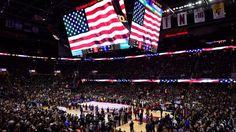 #NBA  CLEVELAND, OH - JUNE 16:  A general view during the national anthem before Game 6 of the 2016 NBA Finals between the Cleveland Cavaliers and the Golden State Warriors at Quicken Loans Arena on June 16, 2016 in Cleveland, Ohio. NOTE TO USER: User expressly acknowledges and agrees that, by downloading and or using this photograph, User is consenting to the terms and conditions of the Getty Images License Agreement.  (Photo by Jason Miller/Getty Images)
