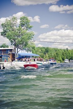 Dockside bar on the Clam River into Torch Lake. fun fun