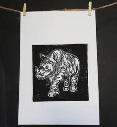 rhino is here! Linocut Prints, Art Prints, Rhinoceros, Print Poster, My Arts, Illustration, How To Make, Instagram, Deco