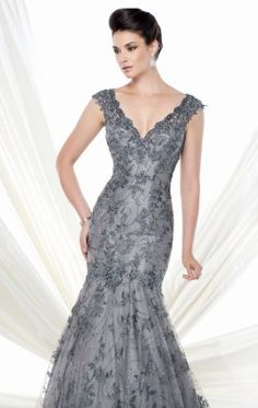 Beaded Lace Mermaid Gown by Ivonne D Exclusively for Mon Cheri 115D76