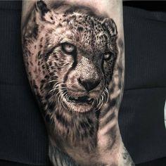 Cheetah tattoo by Ash Higham Cat tattoo – Fashion Tattoos Snow Leopard Tattoo, Cheetah Tattoo, Big Cat Tattoo, Kitten Tattoo, Chicanas Tattoo, Lion Tattoo, Side Tattoos, Body Art Tattoos, Tattoos For Guys