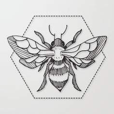 Pen & Ink Bee tattoo by CloudWalker Designs - https://society6.com/product/penink-bee-tattoo_stretched-canvas?curator=marsh-mellow