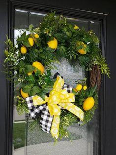 Farmhouse Lemon Decor, Lemon Wreath for Kitchen, Rustic Kitchen Wall Decor, Gifts for Her, Housewarming Gift