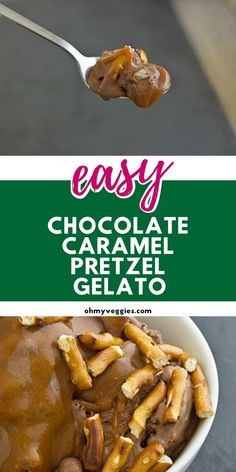 Rich chocolate gelato swirled with ribbons of caramel and pretzel pieces. Vegetarian Cooking, Vegetarian Recipes, Ice Cream Set, Gelato Recipe, Vegan Cookbook, Creamed Eggs, Chocolate Caramels, I Want To Eat, Unsweetened Cocoa