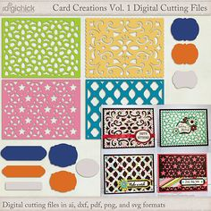Card Creations Vol 1 Digital Cutting File Set Cutting files with pieces that mix and match to make a variety of greeting cards.  Includes SVG, PNG, PDF, DXF and AI file formats.
