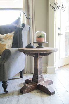 DIY Round Side Table by Shanty 2 Chic
