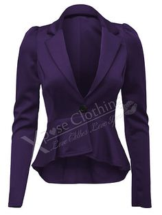 LADIES WOMENS CROP PEPLUM FRILL BLAZER WORK OFFICE JACKET SMART JACKETS COAT TOP | eBay