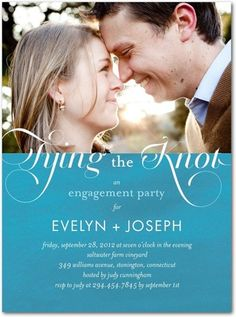 Signature White Photo Engagement Party Invitations Royal Engagement - Front : Peppermint