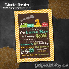 Little Train Birthday Party Invitation By JollyOcelot On Etsy 1700 Trains