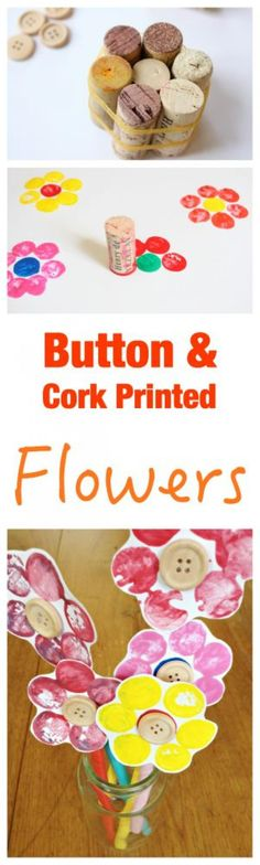 Fun Kids Craft - Button and Cork Printed Flowers. So easy to set up and make. Fun Kids Craft - Button and Cork Printed Flowers. So easy to set up and make. Diy With Kids, Fun Crafts For Kids, Craft Activities For Kids, Easy Diy Crafts, Toddler Crafts, Creative Crafts, Preschool Crafts, Projects For Kids, Art Projects