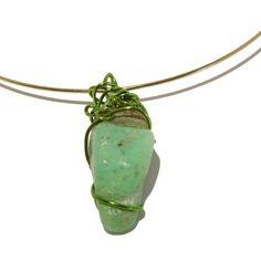 Chrysoprase Necklace 04 Choker Green Stone Crystal Healing Gem Wire Wrap Gold Rock 17  Price : $45.00 http://www.idigcrystals.com/Chrysoprase-Necklace-Choker-Crystal-Healing/dp/B009RUNRLI