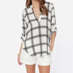 Looking for the perfect Mosunx(Tm) Womens Casual Blouse Chiffon Long Sleeve Top Loose Shirt (M, White)? Please click and view this most popular Mosunx(Tm) Womens Casual Blouse Chiffon Long Sleeve Top Loose Shirt (M, White). Plaid Shirts, Shirt Blouses, Party Blouses, Tartan Shirt, Roll Up Sleeves, Shirt Sleeves, Pantalon Large, Loose Tops, Loose Fit