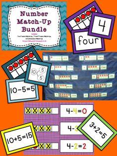 Number Match-Up Bundle: Ten Frame Math Centers, number sense, addition, subtraction, teen numbers $