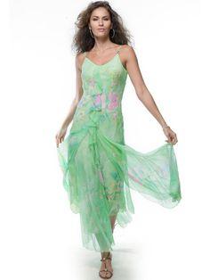 #AdoreWe StyleWe Maxi Dresses - Diane Freis Green Beaded Asymmetrical Spaghetti Casual Holiday Dress - AdoreWe.com