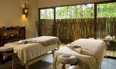 massage room-love these bamboo curtains! Massage Room Colors, Massage Room Decor, Spa Room Decor, Massage Therapy Rooms, Bamboo Curtains, Reiki Room, Spa Design, Design Ideas, Spa Rooms