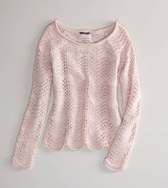 AE Scalloped Open Stitch Sweater