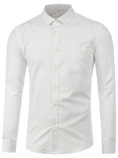 Long Sleeve Buttoned Pocket Plain Shirt #CLICK! #clothing, #shoes, #jewelry, #women, #men, #hats, #watches