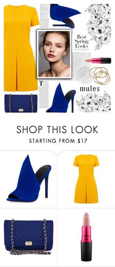 """Slip Em' On: Mules"" by soranamikaze ❤ liked on Polyvore featuring Kendall + Kylie, Warehouse, Chanel, MAC Cosmetics, ABS by Allen Schwartz and H&M"