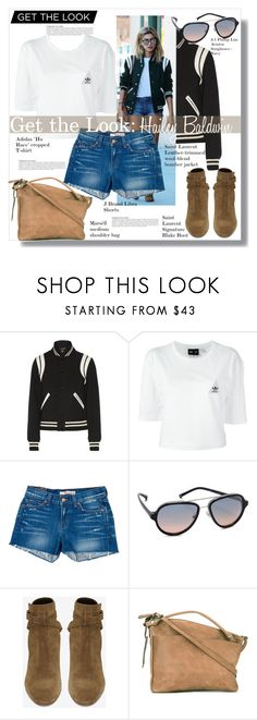 """""""Get the Look: Hailey Baldwin"""" by fashionpassiongirlx ❤ liked on Polyvore featuring Anja, Yves Saint Laurent, adidas, Baldwin, J Brand, 3.1 Phillip Lim, Marsèll, GetTheLook, polyvoreeditorial and haileybaldwin"""