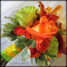 Orange & green orchid, rose & calla bouquet