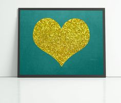 Printable gold glitter heart teal blackboard by Printsofheart, £3.00