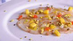 Receta   Carpaccio de langostino vermut, mango, lima y sal de pistacho - canalcocina.es