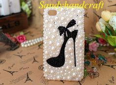 Cheap Cute iPhone 5C Case, white pearl Phone Cases black crystal heels, Cute iPhone 5S Case, New HTC one Case, Galaxy Note 3 cute Case Bling on Etsy, $15.99