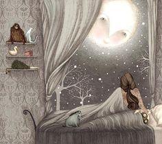 Peaking in, moon, her last goodbye. illustration by Lisa Evans. Art And Illustration, Art Fantaisiste, Good Night Moon, Night Time, Night Owl, Dark Night, Ouvrages D'art, Beautiful Moon, Luna Lovely