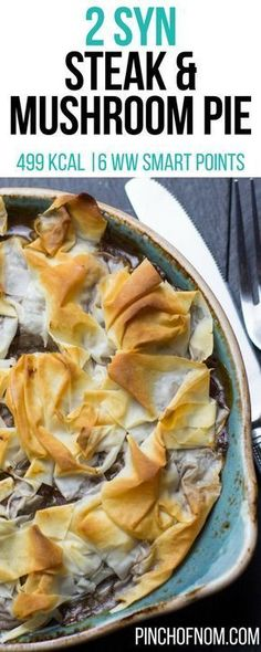 Steak and Mushroom Pie - Pinch Of Nom - Food: Veggie tables Steak And Mushroom Pie, Steak And Mushrooms, Stuffed Mushrooms, Mushroom Recipes, Vegetable Recipes, Slimming World Dinners, Slimming World Recipes Syn Free, Healthy Dinner Recipes, Cooking Recipes