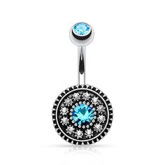 Multi Paved Vintage Shield 316L Surgical Steel Navel Belly Button Ring