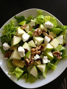Favorite Salad: Romaine Lettuce, Goat Cheese, Apples, Dried Cranberries, Walnuts and Avocado. Topped with Balsamic Dressing.