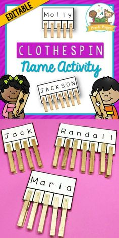 This clothespin name activity will help you quickly and easily create a customized name activity for each child in your class. Help your students learn how to recognize the letters in their names and practice fine motor skills at the same time! Name Writing Activities, Name Activities Preschool, Fine Motor Activities For Kids, Nursery Activities, Preschool Writing, Motor Skills Activities, Preschool Learning Activities, Preschool Activities, Preschool Name Recognition