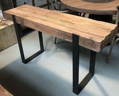 Landelijke sidtetable met stalen onderstel - Kleine tafels, bijzettafels en salontafels - Antieke tafels, tafels van oud hout. landelijke tafels. - De Jong Interieur