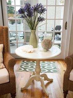 Cottage Living-rooms from Sabrina Soto on HGTV Designer's Notes  Wingback chairs made of rattan flank a cottage-inspired table topped with beachy accessories. A Ikat rug welcomes guests in from the backyard.