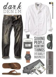 """Dark Denim"" by elena-777s ❤ liked on Polyvore featuring MANGO, Gap, Banana Republic, Tom Ford, Creed, Ray-Ban, Kenneth Cole, Shinola, Master & Dynamic and men's fashion"