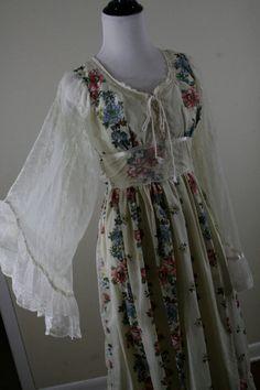1970s Gunne Sax Maxi Dress Lace Angel Wing Sleeves by YaYaRetro, $65.00