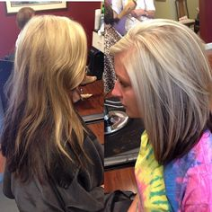 hair, blonde with brown underneath, highlights, short, long