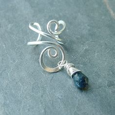 Sterling Silver Ear Cuff Silver Wire Wrapped Blue Iolite Earcuff, fall eco fashion eco friendly jewelry on Etsy, $14.95