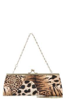Amazon.com: Animal Print Leopard Kiss Lock Closure Chain Clutch Purse - Brown: Clothing