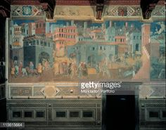 Fine art : The Effects of Good Government in the City and Country, by Lorenzetti Ambrogio, 1338 - 1339, 14th Century, fresco