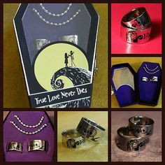 RARE Nightmare Before Christmas JACK SALLY Engagement Ring Set &Chain~Coffin Box