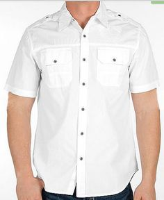 Affliction Mens Rotten Meltdown White Short Sleeve Shirt 110WV113 - 4 Sizes NEW #Affliction #ButtonFront
